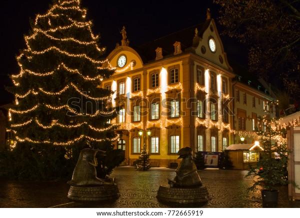German Christmas Tree.German Christmas Market Christmas Tree Night Stock Photo