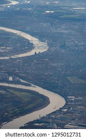 German city of Cologne seen from air with Rhine river, cathedral and more monuments