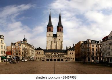 German city Halle (Saale) with square Hallmarkt and church Marktkirche