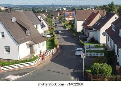 German city suburbs road house gardens