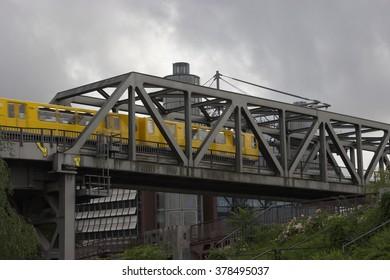 German commuter train, running across a bridge