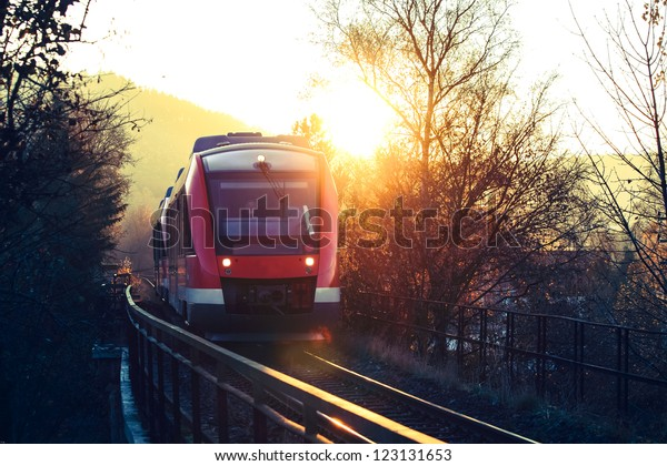 german country train on a golden autumn day