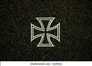 A German cross on marble from the first world war, background and texture