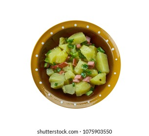 German cuisine ,Kartoffelsalat,  Traditional assorted dishes, Top view.