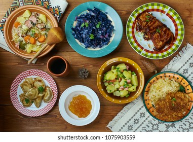 German cuisine , Traditional assorted dishes, Top view.