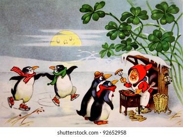 GERMAN DEMOCRATIC REPUBLIC - CIRCA 1954: Reproduction of antique postcard shows Dwarf feeding sausages penguins, circa 1954