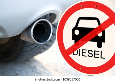 German Diesel driving ban - Prohibition sign next to a car exhaust