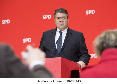 German Economy Minister and Vice Chancellor Sigmar Gabriel attends a press conference in SPD headquarters Willy-Brandt-Haus in Berlin on November 16, 2015.