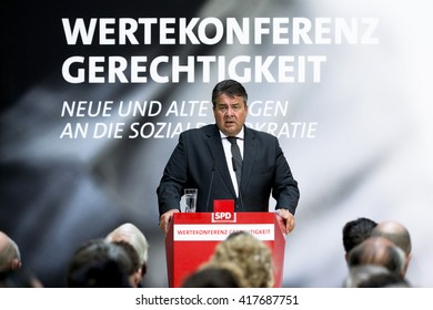 German Economy Minister and Vice Chancellor Sigmar Gabriel speaks during a Values Conference organised from the Social Democratic Party at the Willy-Brandt-Haus in Berlin, Germany on May 9, 2016.