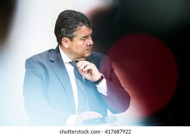 German Economy Minister and Vice Chancellor Sigmar Gabriel is pictured during a Values Conference organised from the Social Democratic Party at the Willy-Brandt-Haus in Berlin, Germany on May 9, 2016.