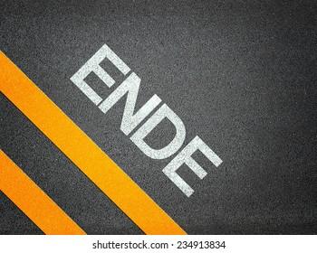 German Ende End Text Writing Road Asphalt Word Floor Ground
