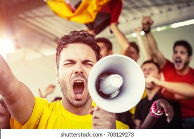 German Fan Shouting with Megaphone, Soccer Championship
