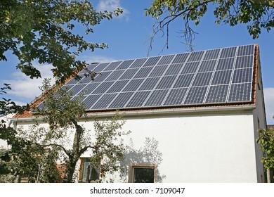 German farmhouse with solar collector
