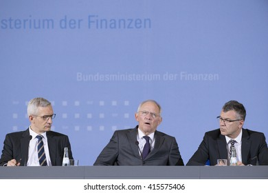 German Federal Minister of Finance Wolfgang Schaeuble (C) is pictured during a news conference on the Tax Estimation for the year 2016 in the Ministry of Finance in Berlin, Germany on May 4, 2016.