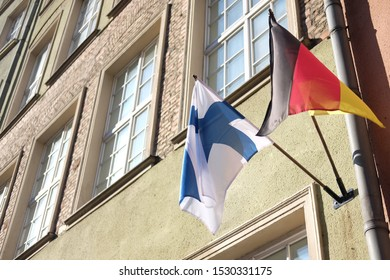 German and Finnish flags, national symbols theme