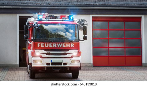 german firefighter truck moving out