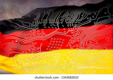 German flag with board in front of dramatic sky