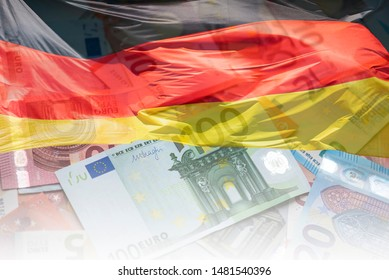 German Flag and EU Euro banknotes, Flag of Germany and Euro Money, concept Picture