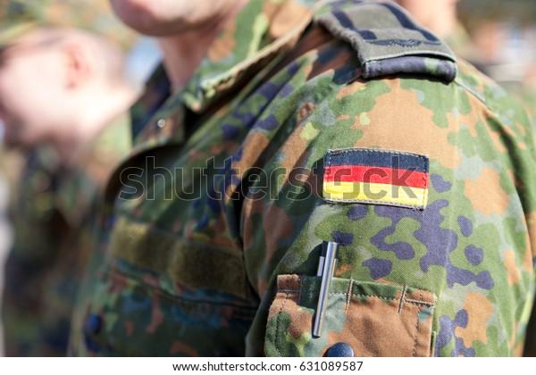 german flag on german army uniform