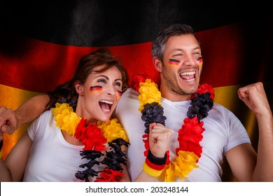 german flag soccer couple fans
