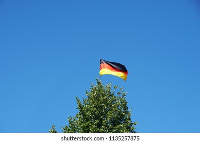 german flag waving on top of tree against clear sky background with copy space, germany