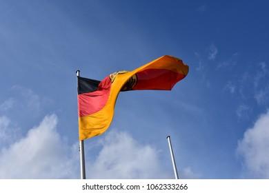 German flag in the wind