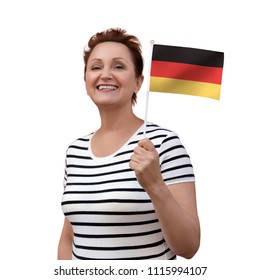 German flag. Woman holding Germany flag. Nice portrait of middle aged lady 40 50 years old with national flag isolated on white background.Learn German language. Visit Germany  Deutschland concept.