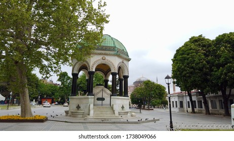 German Fountain and empty city during the coronavirus pandemic / Istanbul, Turkey / 21 May 2020