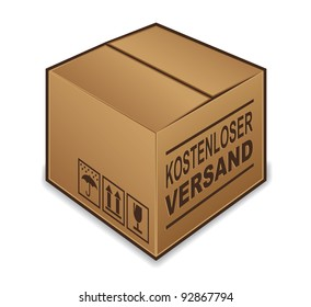 "German ""free shipping"" box icon isolated on white background"