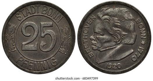 German Germany City of Bonn coin 25 pfennig 1920, notgeld (token, emergency money), value within central circle, laurel sprigs flank, head of composer Beethoven left, date below, iron, light rust,