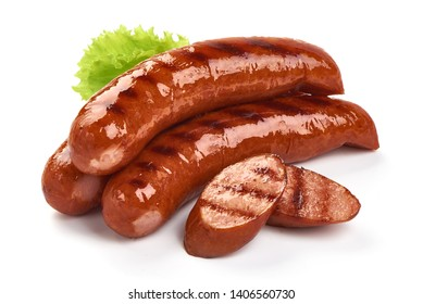 German grilled pork sausages with lettuce, close-up, isolated on white background.