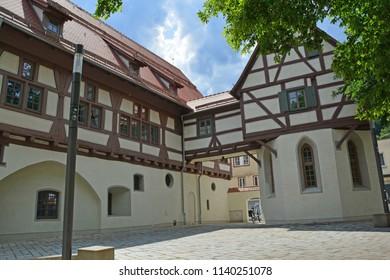 German half timbered building in medieval town with cobbled streets in the Swabian Jura region