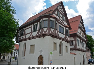 German half timbered lutheran chapel in medieval town in the Swabian Jura region dating from the sixteenth century