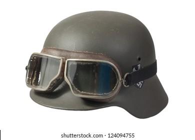 german helmet with protective goggles