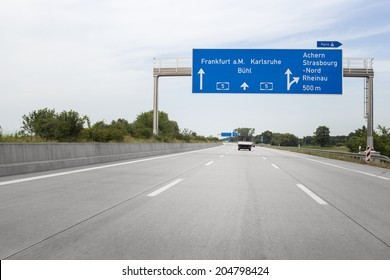 German highway A5, road sign, low-angle view