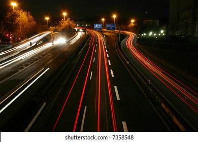german highway in Essen by night