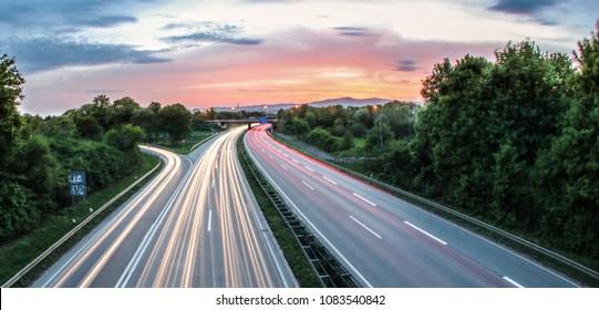German Highway at frankfurt during sunset is beautiful