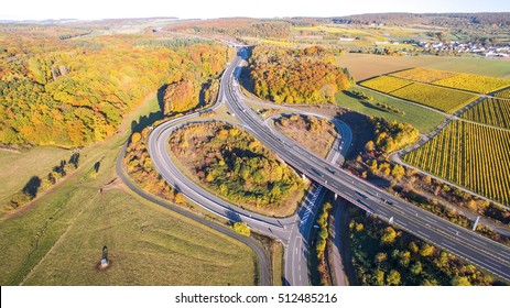 German highway heart aerial view photography autumn colors