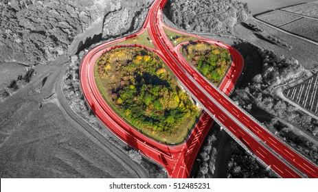 German Highway heart aerial view red heart