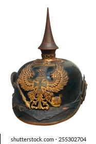 German imperial military helmet pickelhaube isolated on white