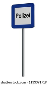 German information sign isolated for police on white. Text police in German. 3d rendering