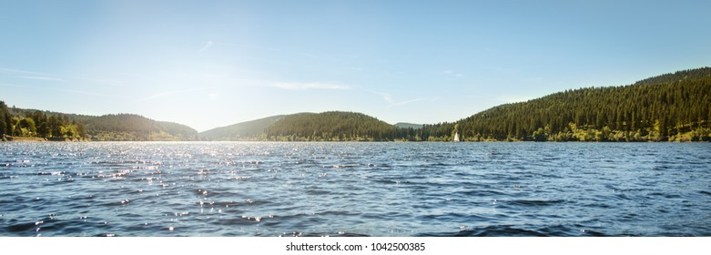 German Lake Schluchsee and black forest, Panorama, concept Traveling and vacation