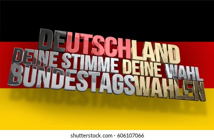 german language for Germany your voice your vote presidential election 3d render