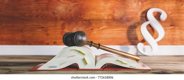 german law book with gavel and paragraph symbol in a lawyer office, including copy space - law concept image