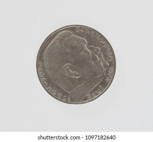 German Mark coin from before second world war. Portrait of Hindenburg. Isolated with path on white.