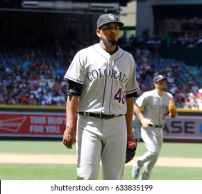 German Marquez pitcher for the Colorado Rockies at Chase Field in Phoenix Arizona USA April 30,17.