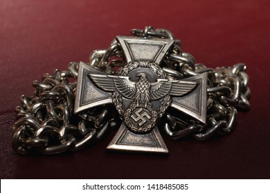 German medal since the 2nd World War for long service in the police. The inscription on a medal in the German language - for faithful services in the police.