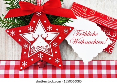German: Merry Christmas and decoration background