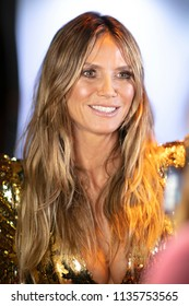 German Model Heidi Klum attends the  launch of her line of swimsuits during Swim Week at the Surfcomber Hotel in Miami Beach on July 12th, 2018