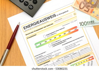 German official energy performance certificate, like its used for german houses